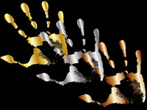 Gold silver and bronze hands Stock Image