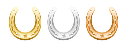 Gold Silver Bronze Horseshoes Royalty Free Stock Images