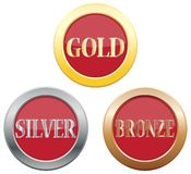 Gold Silver Bronze Icons. Isolated on a white background Stock Photos