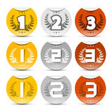 Gold, Silver, Bronze Labels Set Stock Photography