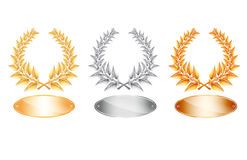 Gold silver and bronze laurel wreath and label Stock Images