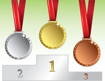 Gold, silver and bronze medal Stock Photos