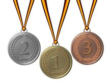 Gold, silver and bronze  medal Stock Images
