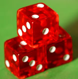 Gold, silver and bronze medal. Metaphore with red dice stock images