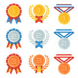 Gold, silver, bronze medal in flat icons set. Royalty Free Stock Photos
