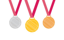 Gold Silver Bronze medal icon. Vector set. Isolated medal on white background Stock Photos