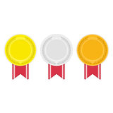 Gold silver and bronze medal icon. Medal vector set isolated on white background. Gold, silver and bronze medals icon. Three olympic games award. Championship Royalty Free Stock Photos