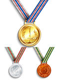 Gold, silver and bronze medal Royalty Free Stock Photography