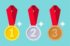 Gold, silver, bronze medal with red ribbon. 1st, 2nd and 3rd places. First, second, third place. Award winner trophy . Golden badge for achievement. Vector stock illustration