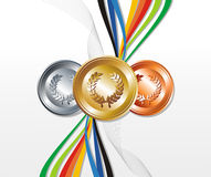 Gold, silver and bronze medal with ribbons. Sport gold, silver and bronze medals with ribbon elements set background. Vector file layered for easy manipulation Stock Image