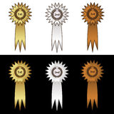 Gold silver and bronze medal with ribbons eps10 Stock Photography