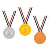 Gold ,Silver,Bronze medal set.Medals for peoples with disabled activity. Royalty Free Stock Photo