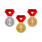 Gold silver and bronze medal Royalty Free Stock Photos