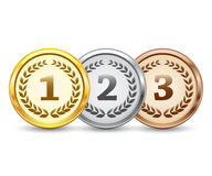Gold, silver and bronze medal. Set of gold, silver and bronze medal with wreath isolated on white background, vector illustration, eps9 Stock Photography