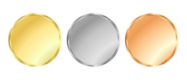 Gold, silver and bronze medal templates. Three circular medal templates corresponding to gold silver and bronze suitable for coins, seals or medals with simple Stock Photos