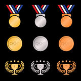 Gold silver bronze medal and trophies Olive wreath (gradients color) on black background Stock Images