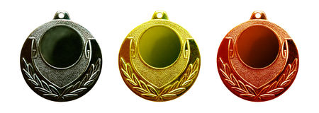 Gold silver and bronze medals Royalty Free Stock Photo