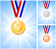 Gold silver bronze medals Royalty Free Stock Image