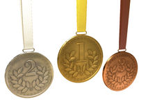 Gold, silver and bronze medals Stock Photography