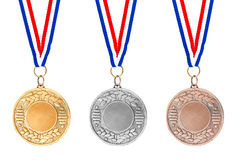 Gold silver bronze medals Royalty Free Stock Photography