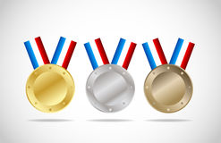 Gold,silver and bronze medals Royalty Free Stock Photo