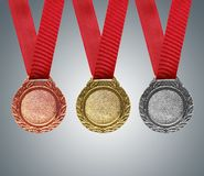 Gold, silver and bronze medals Royalty Free Stock Image