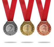 Gold, silver and bronze medals. With ribbons(path in side Stock Photography
