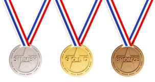 Gold, Silver and Bronze medals. Three medals, Gold, Silver and bronze for the winners Stock Photo