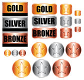 Gold, silver and bronze medals. Collection Stock Photos