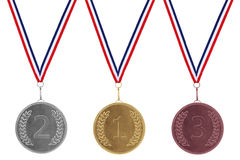 Gold Silver & Bronze Medals Royalty Free Stock Photo