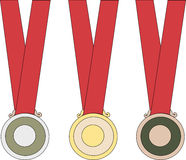 Gold Silver and Bronze Medals. For Beijing Olympics China 2008 Stock Photos