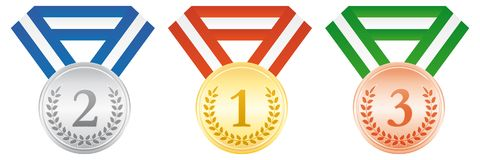 Gold, silver and bronze medals. Award ceremony icon. Gold, silver and bronze medals. Award ceremony. Vector icon Royalty Free Stock Photo