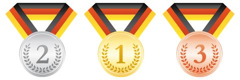 Gold silver and bronze medals. Award ceremony sport icon. Black red and yellow ribbon. German ribbon flag. Gold silver and bronze medals. Award ceremony sport Stock Photo