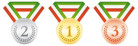 Gold silver and bronze medals. Award ceremony sport icon. Green white and red ribbon. Gold silver and bronze medals. Award ceremony sport vector icon. Green Stock Image