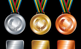 Gold, silver and bronze medals background. Sport gold, silver and bronze medals with ribbon elements set background. Vector file layered for easy manipulation Stock Images