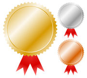 Gold, silver, bronze medals Stock Photo