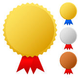 Gold, silver, bronze medals. Gold, silver and bronze medals, badges, awards with ribbons Royalty Free Stock Images