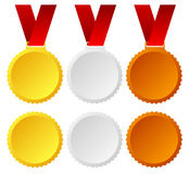 Gold, silver, bronze medals, badges. Gold, silver and bronze medals, badges vector. Trophy, winners, top 3 places and honor or award concepts Stock Photo