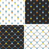 Gold, Silver & Bronze Medals Big & Small Seamless Pattern Blue Color Set Royalty Free Stock Images