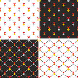 Gold, Silver & Bronze Medals Big & Small Seamless Pattern Red Color Set Royalty Free Stock Photos