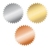 Gold, silver and bronze medals. Blank gold, silver and bronze medals, isolated on White Royalty Free Stock Photos
