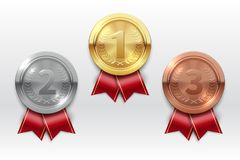 Gold silver bronze medals. Champion winner award metal medal. Honor badges realistic isolated vector set. Medal bronze, silve and gold for championship prize stock illustration