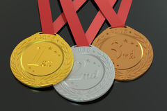 Gold, Silver and Bronze medals 2016, 3D rendering Stock Images