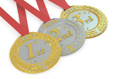 Gold, Silver and Bronze medals 2016, 3D rendering. On white background Stock Photo