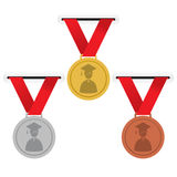 Gold, Silver And Bronze Medals Education Concept. Vector Illustration Royalty Free Stock Photos