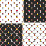 Gold, Silver & Bronze Medals Freehand Big & Small Seamless Pattern Red Color Set Royalty Free Stock Images