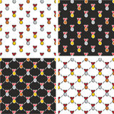 Gold, Silver & Bronze Medals Freehand Seamless Pattern Red Color Set Stock Photo
