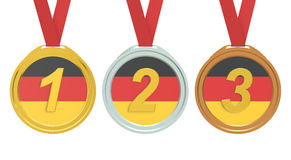 Gold, Silver and Bronze medals with Germany flag, 3D rendering Stock Images
