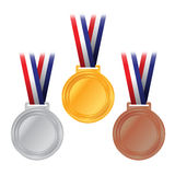 Gold, Silver, and Bronze Medals Illustration. An illustration of gold, silver, and bronze competition medals with American flag colored ribbon. Vector EPS 10 Royalty Free Stock Images