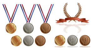 Gold silver and bronze medals. And laurel wreaths  on white background Stock Photo